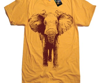 Elephant Charging T Shirt - American Apparel Tee - S M L Xl and Xxl (7 Color Options)