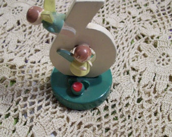 Birthday Cake Candleholder with Angels Choice of Number 4 5 or 6