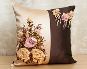 Pillow roses Embroidered Floral silk ribbons bedroom Decor gift woman Home