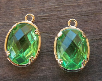 2  Green Glass Crystal Charms in Rose Gold Plated Brass 19mm