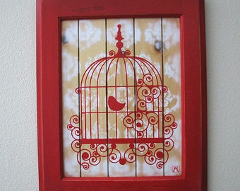 Lovebird Multilayer Graffiti Stencil Art on Re-Purposed Wood