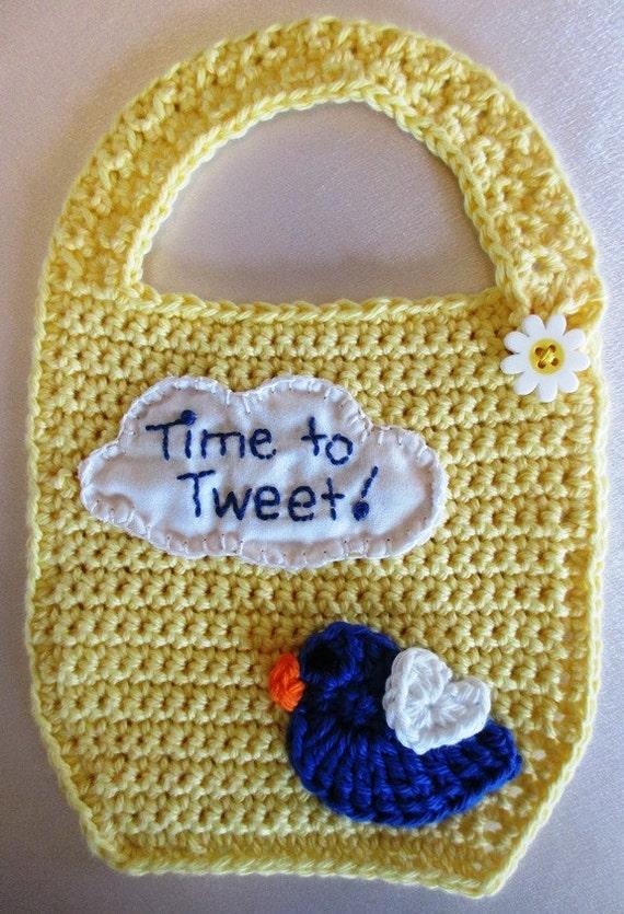 Crochet Cotton Baby Bib Pattern : Yellow Crocheted Cotton Baby Bib by PatternedOnPurpose on Etsy