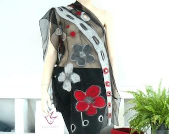 Nuno Felted Scarf,  silk scarf, floral Nuno felting shawl, Black silk scarves,  Red, grey flowers