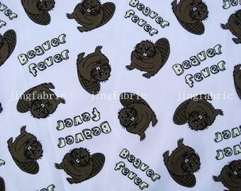 C096 - 1 meter Cotton Fabric - Cartoon - Beaver fever  (140cm width)