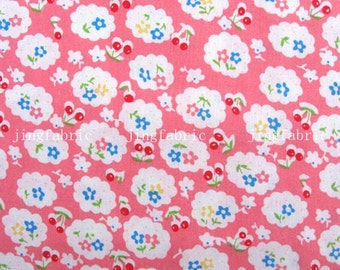 C2001A - 1 meter  Cotton Fabric - Flowers and cherries on pink (140cm width)