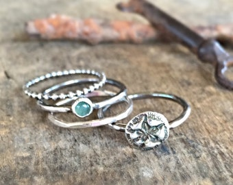 Stacking Ring Set, Silver Ring Boho Jewelry, Silver Sand Dollar Beach Jewelry, Natural Gemstone, Summer Ring Set, Ocean Jewelry Gift