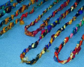 Fair Trade Recycled Sari Silk Twist Fiber Necklace