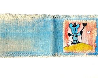 Blue Bear Cotton Canvas Art Wallet