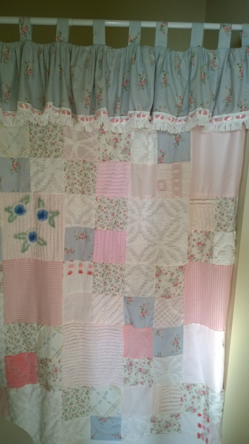 Custom Shower Curtain Shabby Chic Vintage Chenille From