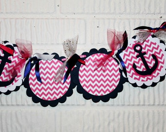 Preppy Navy and Hot Pink Banner Custom to Happy Birthday or I am One with Anchor