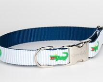 Crew LaLa Green Gator Seersucker Dog Collar