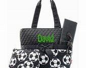 Personalized Soccer Ball Diaper Bag Set- 3 piece quilted black and white baby girl or boy Momogram FREE
