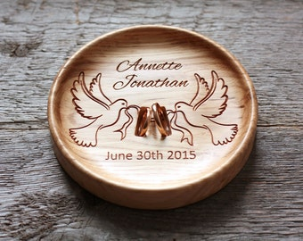 Wedding Ring box alternative Wedding Ring Pillow alternative Wedding ring plate Wedding ring dish Wedding ring bowl Two Doves bearer