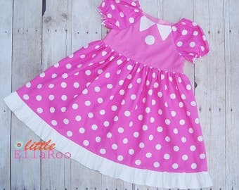 Size 2/3 Pink Minnie Disney Vacation Peasant dress Ready to ship-RTS - by littleellaroo