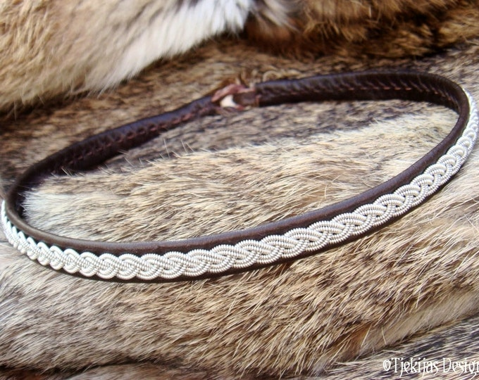 Nordic Chic Viking Necklace LIDSKJALV Swedish Sami Collar Choker with spun Pewter braid on Antique Brown Reindeer Leather