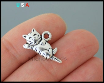 BULK 25 CAT Charm Pendants - 20mm Antiqued Silver Sleeping Kitty Cat Animal Feline Pet Pendant Charm - Instant Ship - USA Discount - 6259
