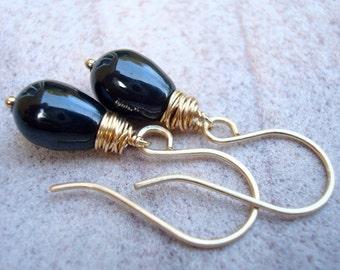 Bridesmaid Earrings - Bridesmaid Jewelry - Black Pearl Earrings - Purple Pearl Earrings - Gold Pearl Earrings - Swarovski - Bridesmaid Gift