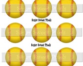 INSTANT DOWNLOAD Softball  blank 1 inch Circle Bottlecap Images 4x6 sheet