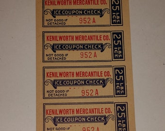01 Antique Vintage paper old ice coupons ticket lot strip of 4 1920s Mercantile general store altered art scrapbook supplies