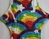ZORB Kiki Mama Cloth Menstrual Pad Size is Regular Rainbows with White Unicorns Stars