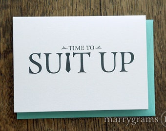 Time to Suit Up - Will You Be My Groomsman Card, Best Man, Usher, Ring Bearer- Fun Wedding Cards for Groom to Ask Groomsmen, Guys (Set of 5)