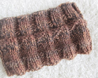 Handknit Wool Headband, Brown, One of a Kind, Ready to Ship, Very Warm