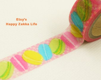 Macaroon and Dot with Pink - Japanese Washi Masking Tape -  11 yards