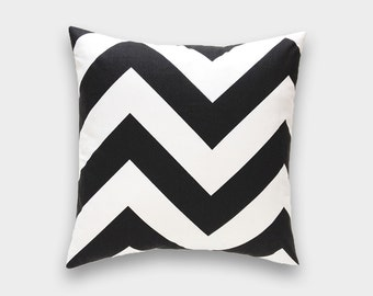 CLEARANCE 50% OFF Black Chevron Decorative Pillow Cover. 18X18 Inches. Large Zig Zag Throw Pillow Cover.