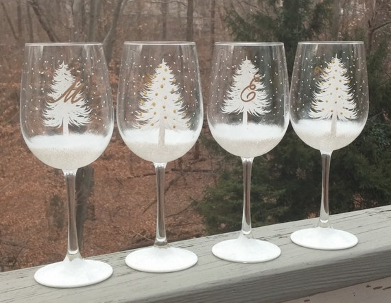 Christmas tree wine glasses christmas wikii for Painted wine glasses with initials
