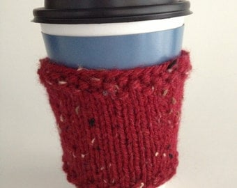 Red Cup Cozy Hand KnitCoffee Tea Sleeve Hot Beverage Ruby Red