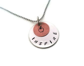 INSPIRE Teachers necklace, Hand Stamped necklace for teachers, teacher thank you gift apple necklace from Moonstone Creations