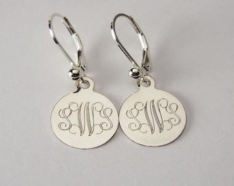 Custom Engraved Monogram Earrings Personalized Petite Sterling Silver Round Lever Back Earrings - Hand Engraved