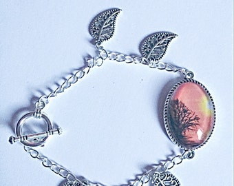 Pretty Silver Bracelet - Nature Bracelet - Leaf Charms - Glass Cabachon - Gift For Her - OOAK
