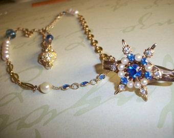 Vintage Blue Rhinestone Pearl Gold Scarf Clip Necklace-Upcycled Rhinestone Scarf Clip Necklace-Vintage Pearl Blue Rhinestone Necklace