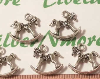8 pcs per pack 24x20x4mm 3D Rocking Pony Charms Antique Silver Finish Lead Free Pewter