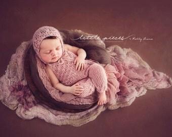 PDF Knitting Pattern - newborn photography prop_Tiny flowers jumpsuit_overalls and bonnet set #109