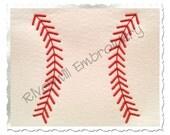 Baseball or Softball Stripes Machine Embroidery Design - 5 Sizes