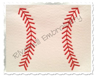 Baseball or Softball Stripes Machine Embroidery Design - 5 Sizes