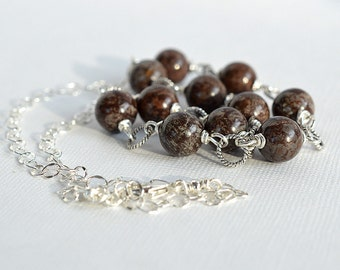 Snowflake Jasper Necklace, Brown Stone Necklace, Sterling Necklace, Stone Bead Necklace, Neutral Necklace, Chocolate Brown Necklace