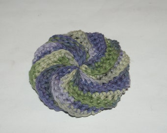 Spiral Scrubbie Crochet dishcloth  All Cotton / Puffy Wash Cloth