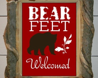 Log Cabin Art, Bear Art Print, black bear, cabin decor, woodland art, Bear Feet Welcomed