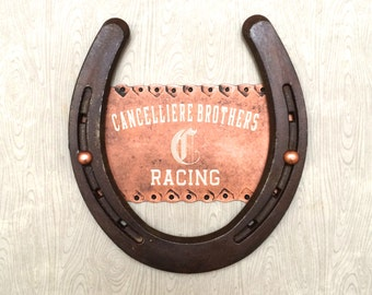 Engraved copper plate, on clean rusty horseshoe, personalized gift, western decor