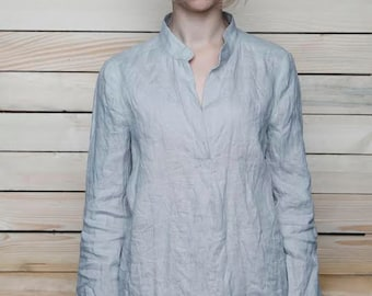 Pure Linen Longsleeve Shirt/Blouse With Collar-Stand