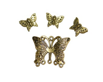 Butterfly Pendant and Beads Antique Gold tone Metal Charms Supplies Jewelry Supplies