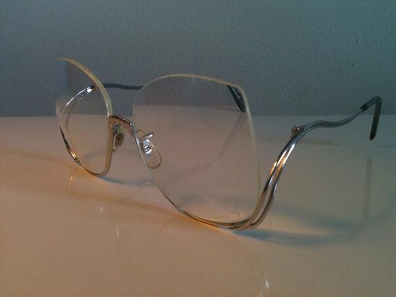 Rimless Hipster Glasses : Vintage eyeglasses Silver tone Metal frame half rimmed under