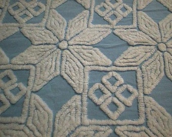 "Hofmann BLUE with WHITE Daisies, Diamonds and Squares Vintage Chenille Bedspread Fabric- 26+"" X 35+"""