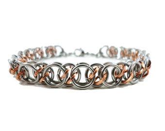 Stainless Steel Bracelet, Stainless Steel Jewelry, Chainmail Copper Bracelet, Chainmaille Jewelry, Copper Jewelry, Stainless Steel Jewelry