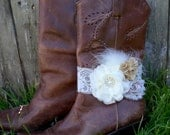 Bridal Boot Bracelet - Boot Band - Boot Accessories - Wedding Boot Cuff - Boot Flower - Rustic Wedding - Boot Jewelry - Country Wedding