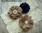 BEST SELLER - Bridal Garter Set - Keepsake & Toss Wedding Garters - NAVY and Burlap Flower Garters - Ivory Garter - Rustic Country Wedding
