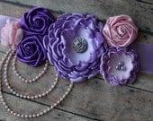 Its a Girl Sash Pink and Purple Lavender Light Pink Pearls Rhinestone Light Purple Sash